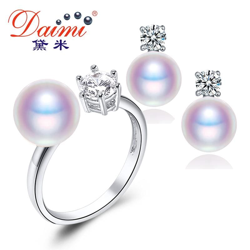 Daimi Natural Purple Pink White Black Pearl Earrings Ring Sets Natural Pearl Sets Party Jewelry