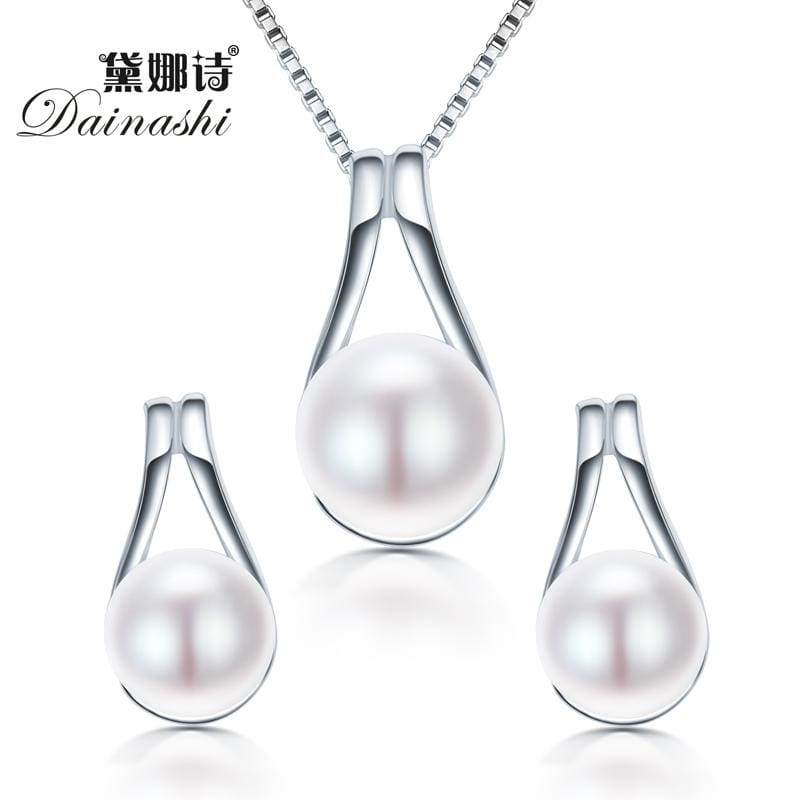 Dainashi 925 Sterling Silver Water Drop Pendant & Necklace Earrings Real Natural Pearl JEWELRY For