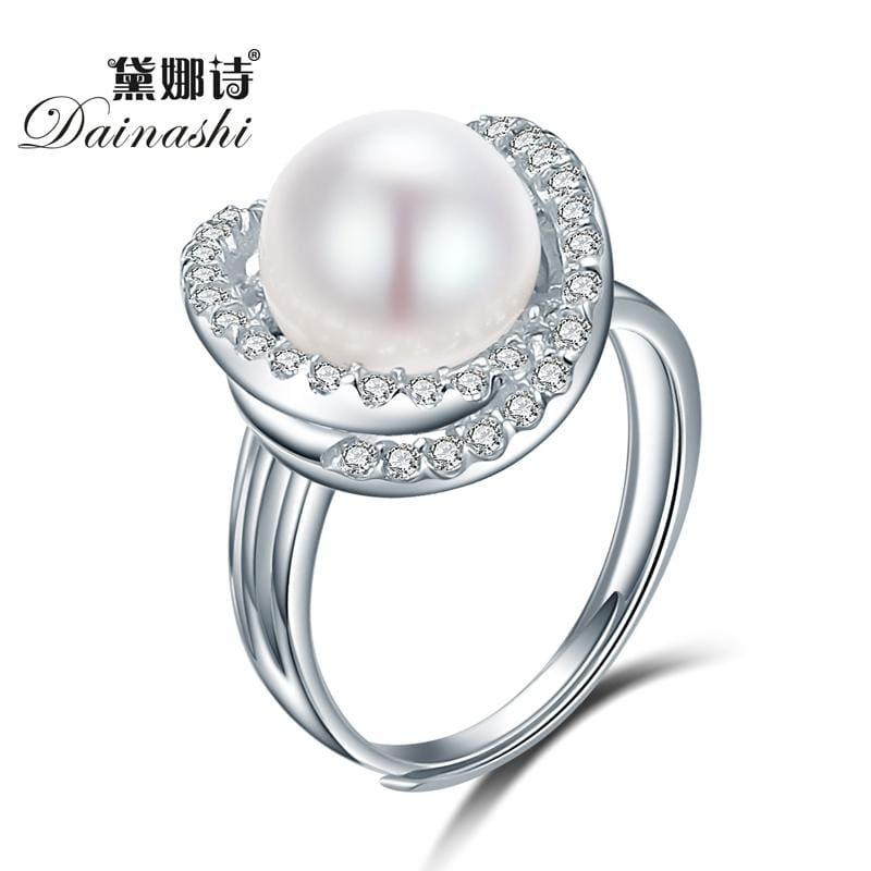 Dainashi Fine Cross Round Rings For Women 925 Sterling Silver Jewelry Natural White Pearl Jewelry