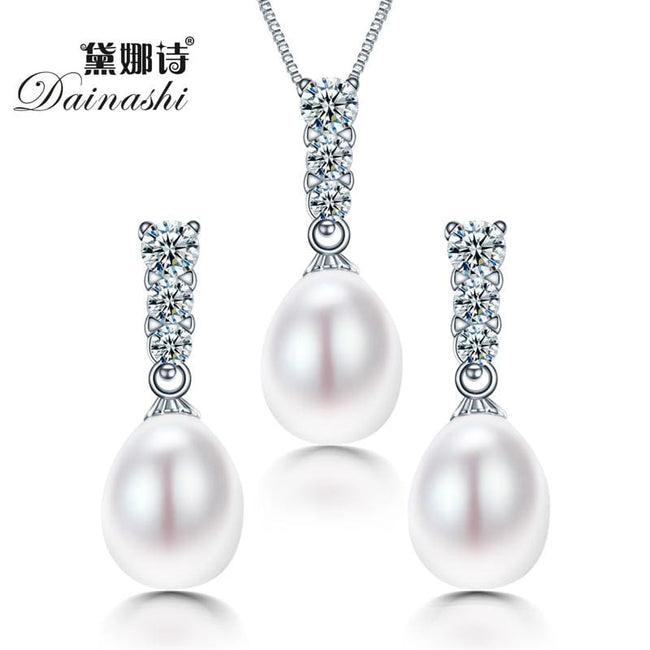 Dainashi New arrival bridal women geometric natural freshwater pearl jewelry set with 925 sterling - MBMCITY