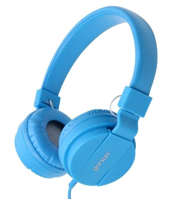 Deep Bass Headphones Earphones 3.5Mm Aux Foldable Portable Adjustable Gaming Headset For Phones Mp3 Blue