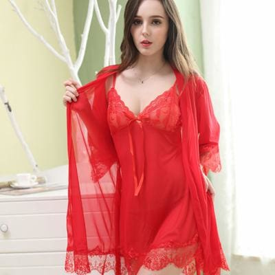Deruilady Women Sexy Nightgown With Panties Women Spaghetti Strap Sleepshirts Set With Lace Red / L