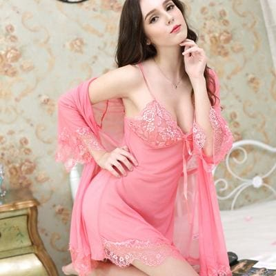 Deruilady Women Sexy Nightgown With Panties Women Spaghetti Strap Sleepshirts Set With Lace Pink / L
