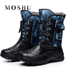 Designer Men Winter Military Boots Male Snow Ankle Boots Warm Waterproof Fur Tactical Boot Shoes - MBMCITY