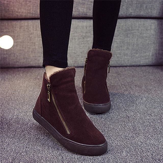 Designer Women Winter Boots Female Zipper Flock Anti Slip Snow Ankle Boots Ladies Plush Sneakers Brown / 5