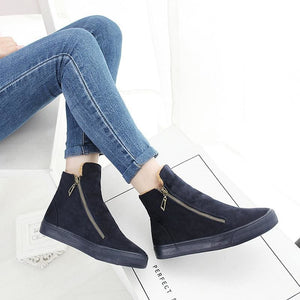 Designer Women Winter Boots Female Zipper Flock Anti Slip Snow Ankle Boots Ladies Plush Sneakers