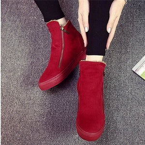 Designer Women Winter Boots Female Zipper Flock Anti Slip Snow Ankle Boots Ladies Plush Sneakers Red / 5