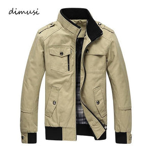DIMUSI Autumn&Winter Men's Casual Jackets Stand Collar Military Windbreaker Coats Male Fashion