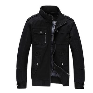 Dimusi Autumn&winter Mens Casual Jackets Stand Collar Military Windbreaker Coats Male Fashion Amy Green / M