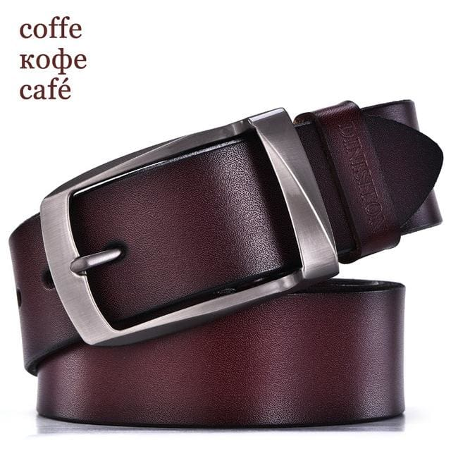 DINISITON designer belts men high quality genuine leather belt man fashion strap male cowhide belts RB coffe / 100cm