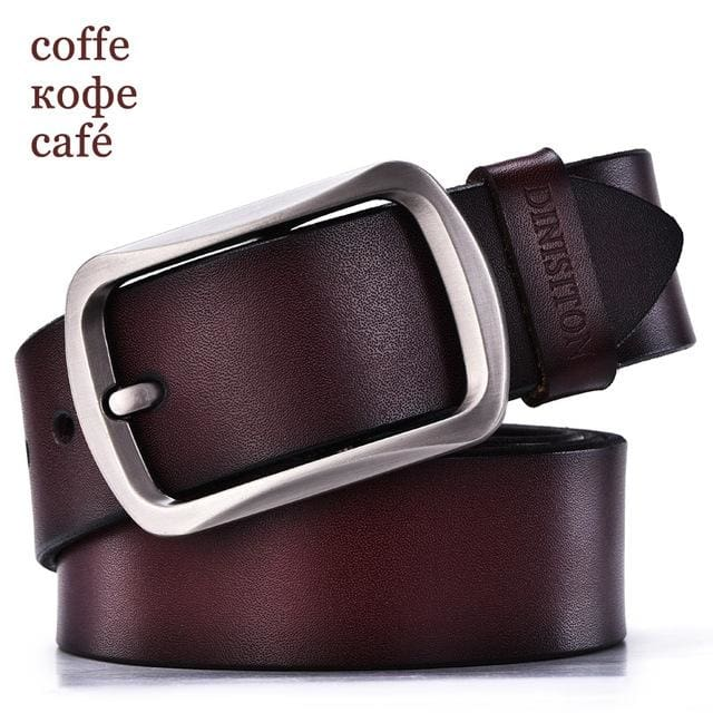 DINISITON designer belts men high quality genuine leather belt man fashion strap male cowhide belts RG coffe / 100cm