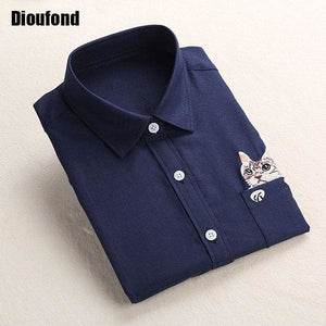 Dioufond Cat Embroidery Long Sleeve Women Blouses And Shirts White Blue Female Ladies Casual Shirt Navyecat / Xxxl
