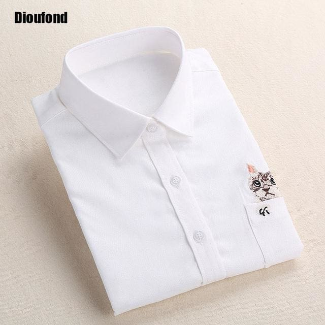 Dioufond Cat Embroidery Long Sleeve Women Blouses And Shirts White Blue Female Ladies Casual Shirt Whiteecat / Xxxl