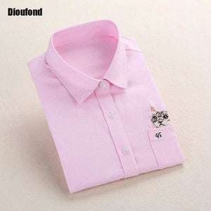 Dioufond Cat Embroidery Long Sleeve Women Blouses And Shirts White Blue Female Ladies Casual Shirt Pinkecat / Xxxl
