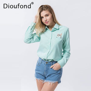 Dioufond Cat Embroidery Long Sleeve Women Blouses And Shirts White Blue Female Ladies Casual Shirt