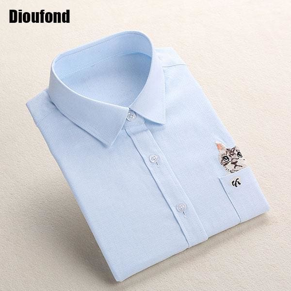 Dioufond Cat Embroidery Long Sleeve Women Blouses And Shirts White Blue Female Ladies Casual Shirt Blueecat / Xxxl