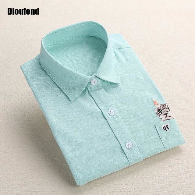 Dioufond Cat Embroidery Long Sleeve Women Blouses And Shirts White Blue Female Ladies Casual Shirt Greenecat / Xxxl