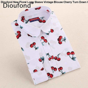 Dioufond New Floral Long Sleeve Vintage Blouse Cherry Turn Down Collar Shirt Blusas Feminino Ladies