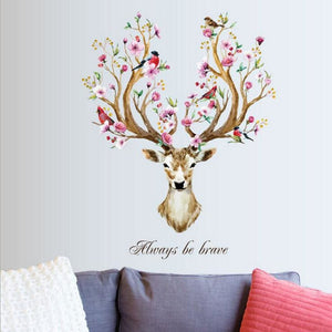 DIY Sika Deer Head Flowers Wall stickers For Living Room Art Vinyl Wall Decals For Kids Baby Home - MBMCITY