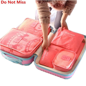 Do Not Miss New 6Pcs/set High Quality Oxford Cloth Travel Mesh Bag In Bag Luggage Organizer Packing