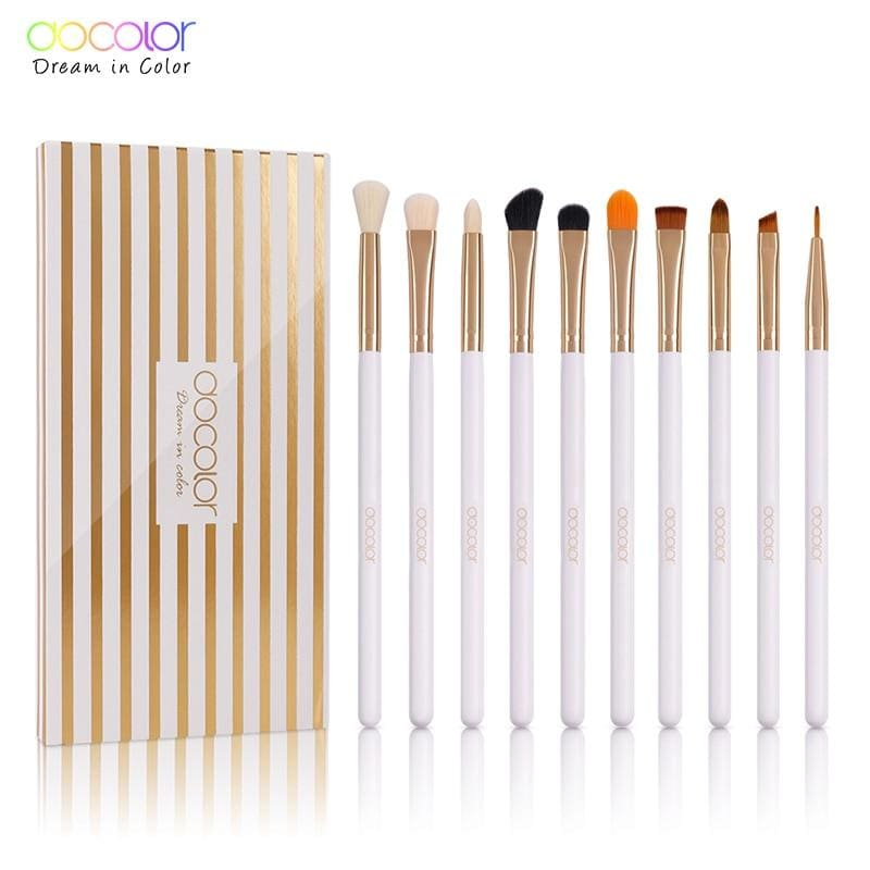 Docolor 10Pcs Makeup Brushes Eye Brow Brush Eyeshadow Eyeliner Lip Brushes For Makeup Eye Make Up