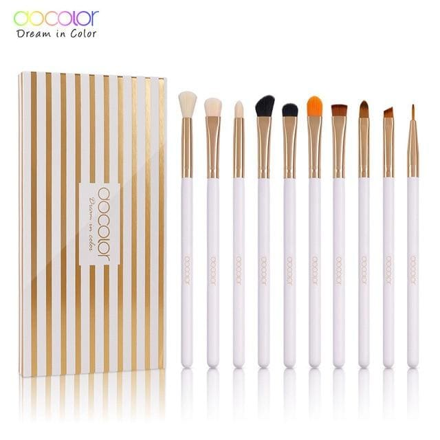 Docolor 10Pcs Makeup Brushes Eye Brow Brush Eyeshadow Eyeliner Lip Brushes For Makeup Eye Make Up Synthetic Hair