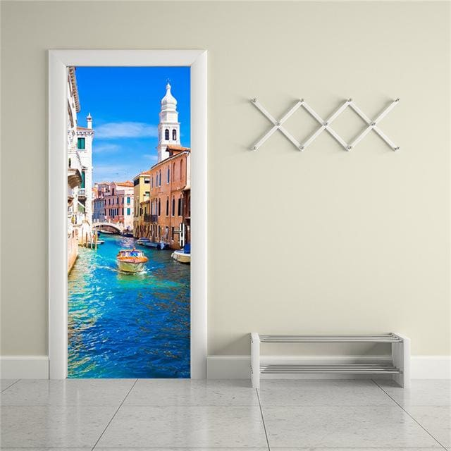 Door Stickers Landscape Waterproof Living Room Bedroom Door Wallpaper Self Adhesive Art Wall Decals 15