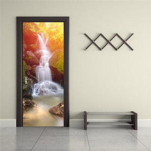 Door Stickers Landscape Waterproof Living Room Bedroom Door Wallpaper Self Adhesive Art Wall Decals 12