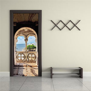 Door Stickers Landscape Waterproof Living Room Bedroom Door Wallpaper Self Adhesive Art Wall Decals 14