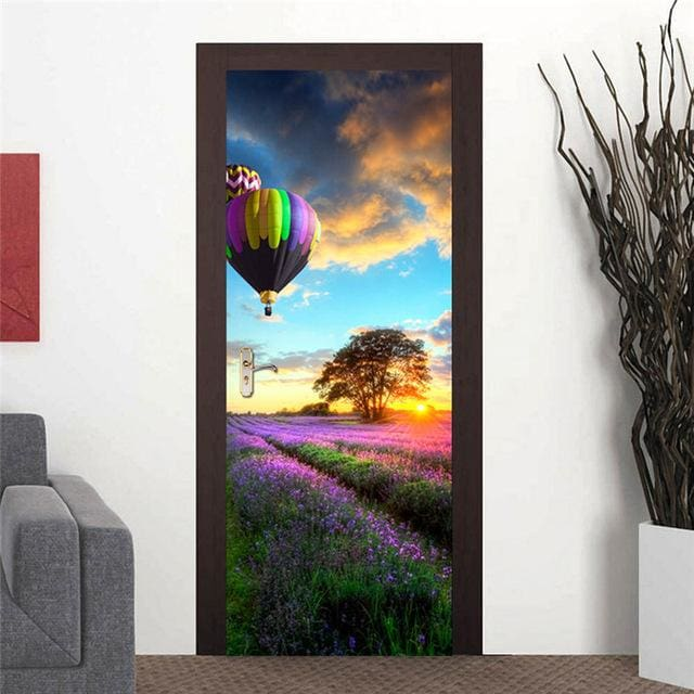 Door Stickers Landscape Waterproof Living Room Bedroom Door Wallpaper Self Adhesive Art Wall Decals 8