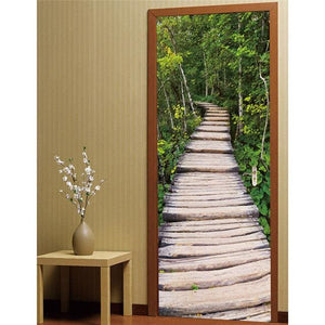 Door Stickers Landscape Waterproof Living Room Bedroom Door Wallpaper Self Adhesive Art Wall Decals 1