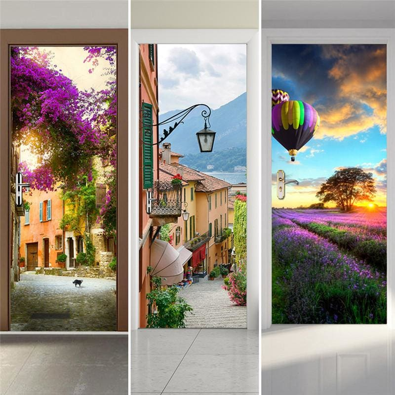 Door Stickers Landscape Waterproof Living Room Bedroom Door Wallpaper Self Adhesive Art Wall Decals