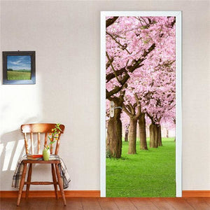 Door Stickers Landscape Waterproof Living Room Bedroom Door Wallpaper Self Adhesive Art Wall Decals 10