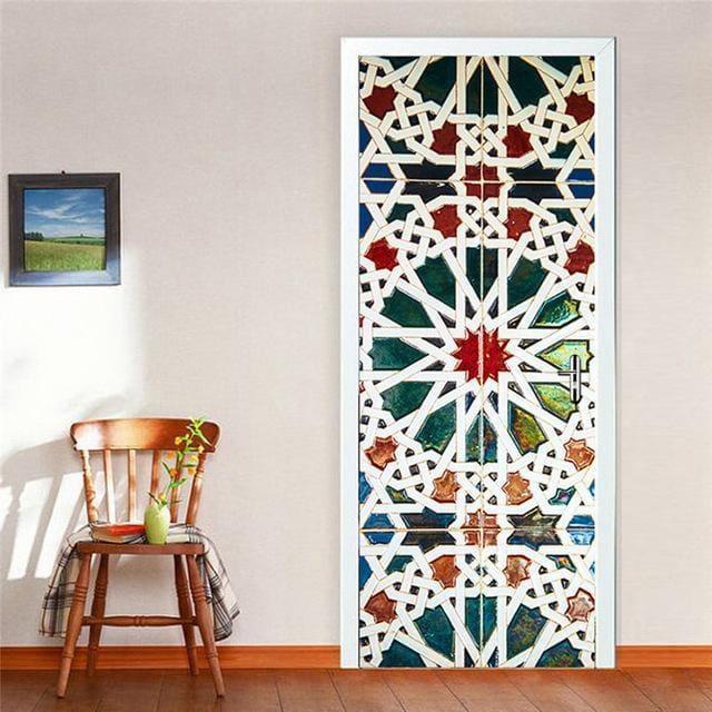 Door Stickers Landscape Waterproof Living Room Bedroom Door Wallpaper Self Adhesive Art Wall Decals 20