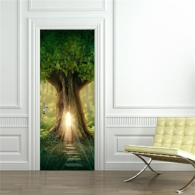 Door Stickers Landscape Waterproof Living Room Bedroom Door Wallpaper Self Adhesive Art Wall Decals 11