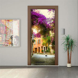 Door Stickers Landscape Waterproof Living Room Bedroom Door Wallpaper Self Adhesive Art Wall Decals 9
