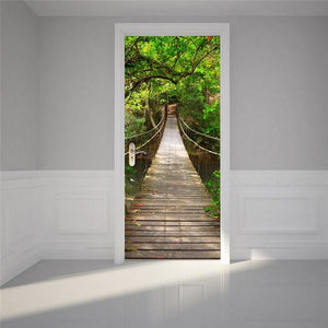 Door Stickers Landscape Waterproof Living Room Bedroom Door Wallpaper Self Adhesive Art Wall Decals 23