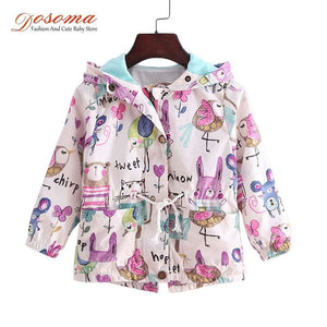DOSOMA 2017 New Spring Baby Coat And Jacket For Girl Cartoon Graffiti Hooded Windbreaker For Girls