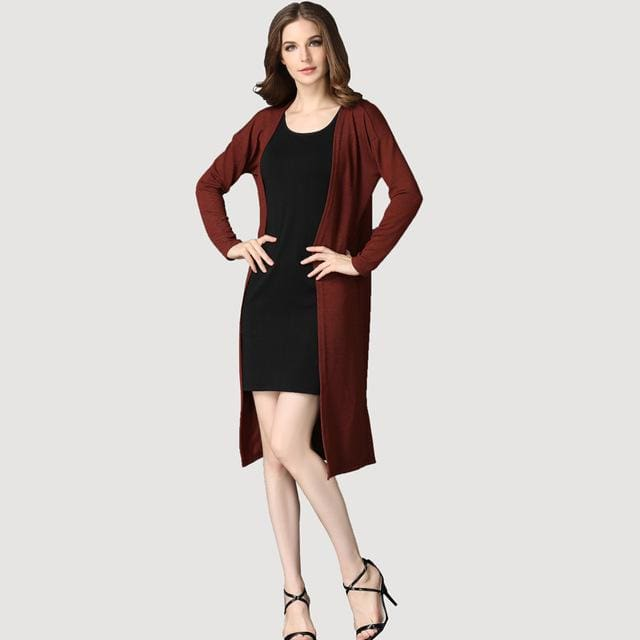 dower me drop shipping Cardigan Women Sweater casual Crochet Poncho Plus Size Coat Women long brown / One Size