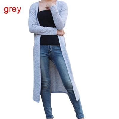 Dower Me Drop Shipping Cardigan Women Sweater Casual Crochet Poncho Plus Size Coat Women Long Gray / One Size