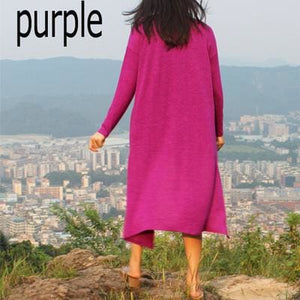 Dower Me Drop Shipping Cardigan Women Sweater Casual Crochet Poncho Plus Size Coat Women Long Purple / One Size