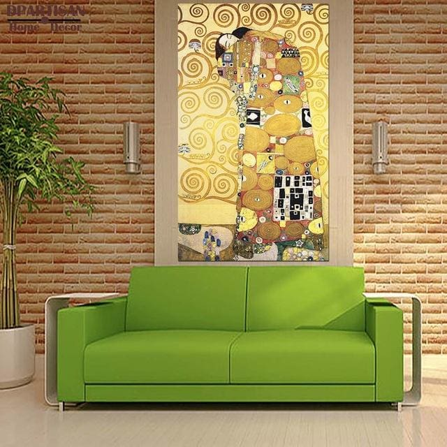 DPARTISAN oil print canvas wall art decor pictures diferent kiss By Gustav klimt wall painting art - MBMCITY