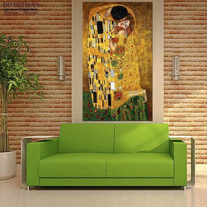 DPARTISAN oil print canvas wall art decor pictures diferent kiss By Gustav klimt wall painting art.