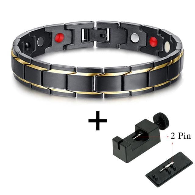 Drop-Shipping Black Mens Health Bracelets & Bangles Magnetic 316L Stainless Steel Charm Bracelet 10087 And Tool