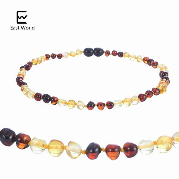 EAST WORLD 16 Colors Amber Teething Bracelet/Necklace for Baby Adult Lab Tested Authentic 8 Sizes gold with cherry 2 / 20cm adult bracelet