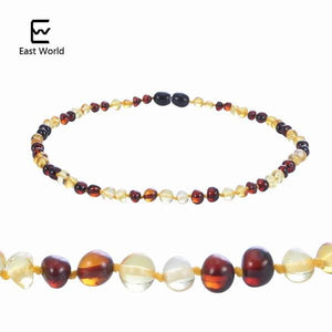 EAST WORLD 16 Colors Amber Teething Bracelet/Necklace for Baby Adult Lab Tested Authentic 8 Sizes gold with cherry 1 / 20cm adult bracelet