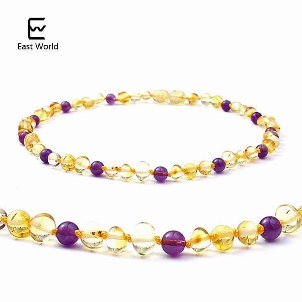 EAST WORLD 16 Colors Amber Teething Bracelet/Necklace for Baby Adult Lab Tested Authentic 8 Sizes gold with amethyst / 20cm adult bracelet