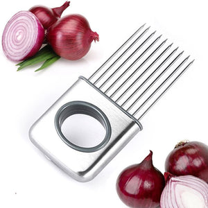 Easy Cut Onion Holder Slicer Vegetable tools Tomato Cutter Stainless Steel Kitchen Gadgets No More