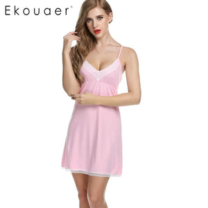Ekouaer Women Nightgowns Cotton Night Dress Sexy Spaghetti Strap V-Neck Lace Casual Home Dress Night