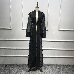 Elegant Muslim Abaya Floral Maxi Dress Cardigan Flowers Skirt Appliques Long Robes Tunic Middle East Black / L